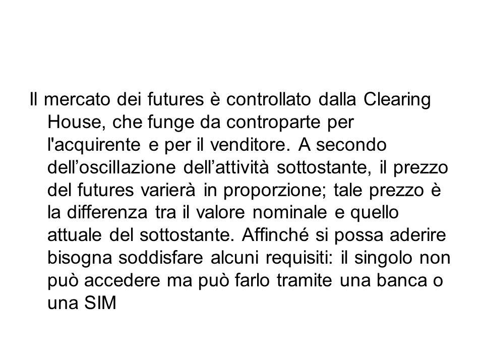 Il mercato dei futures è controllato dalla Clearing House, che funge da controparte per l'acquirente e per il venditore. A secondo dell'oscillazione d