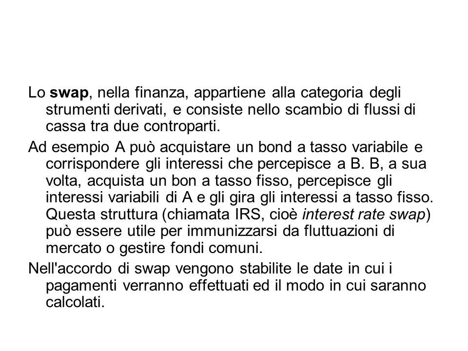 Lo swap, nella finanza, appartiene alla categoria degli strumenti derivati, e consiste nello scambio di flussi di cassa tra due controparti. Ad esempi