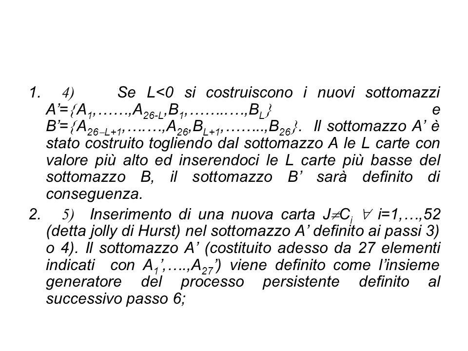1. 4) Se L<0 si costruiscono i nuovi sottomazzi A'=  A 1,……,A 26-L,B 1,……..…,B L  e B'=  A 26  L+1,….…,A 26,B L+1,……..,B 26 . Il sottomazzo A' è