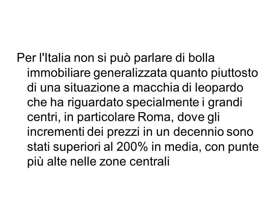 Per l'Italia non si può parlare di bolla immobiliare generalizzata quanto piuttosto di una situazione a macchia di leopardo che ha riguardato specialm