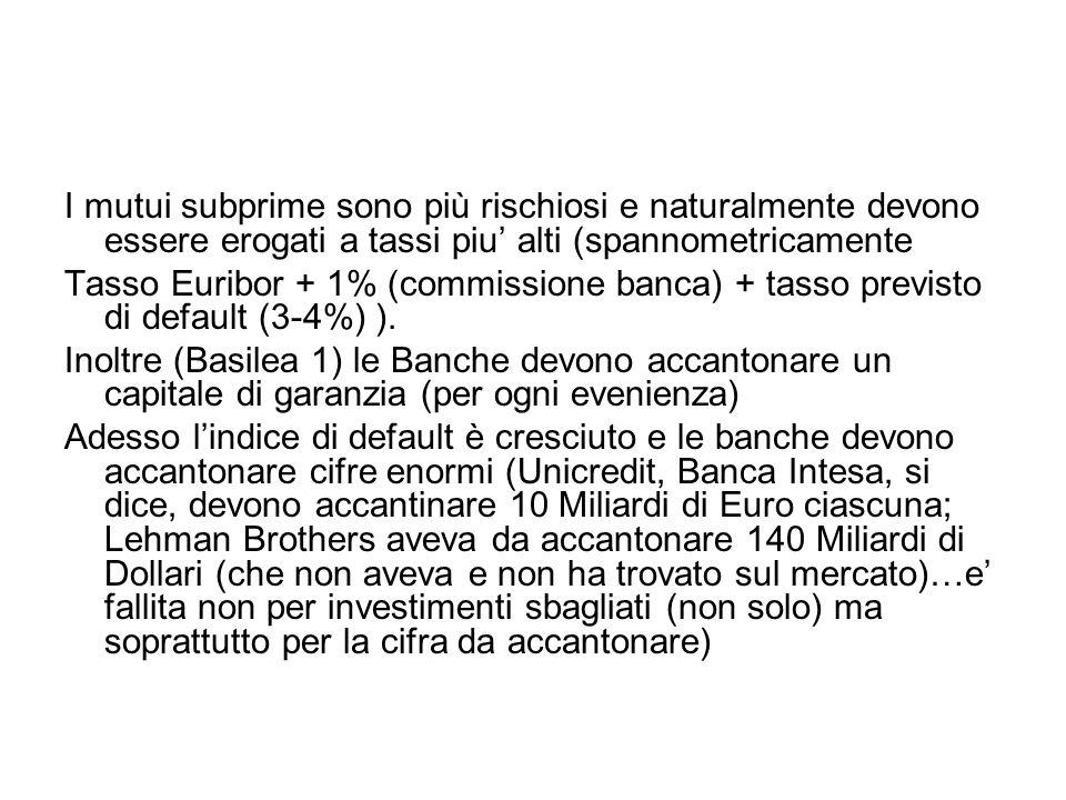 I mutui subprime sono più rischiosi e naturalmente devono essere erogati a tassi piu' alti (spannometricamente Tasso Euribor + 1% (commissione banca)