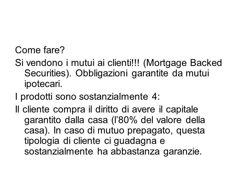 Come fare? Si vendono i mutui ai clienti!!! (Mortgage Backed Securities). Obbligazioni garantite da mutui ipotecari. I prodotti sono sostanzialmente 4