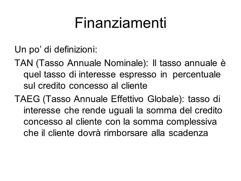Finanziamenti Un po' di definizioni: TAN (Tasso Annuale Nominale): Il tasso annuale è quel tasso di interesse espresso in percentuale sul credito conc
