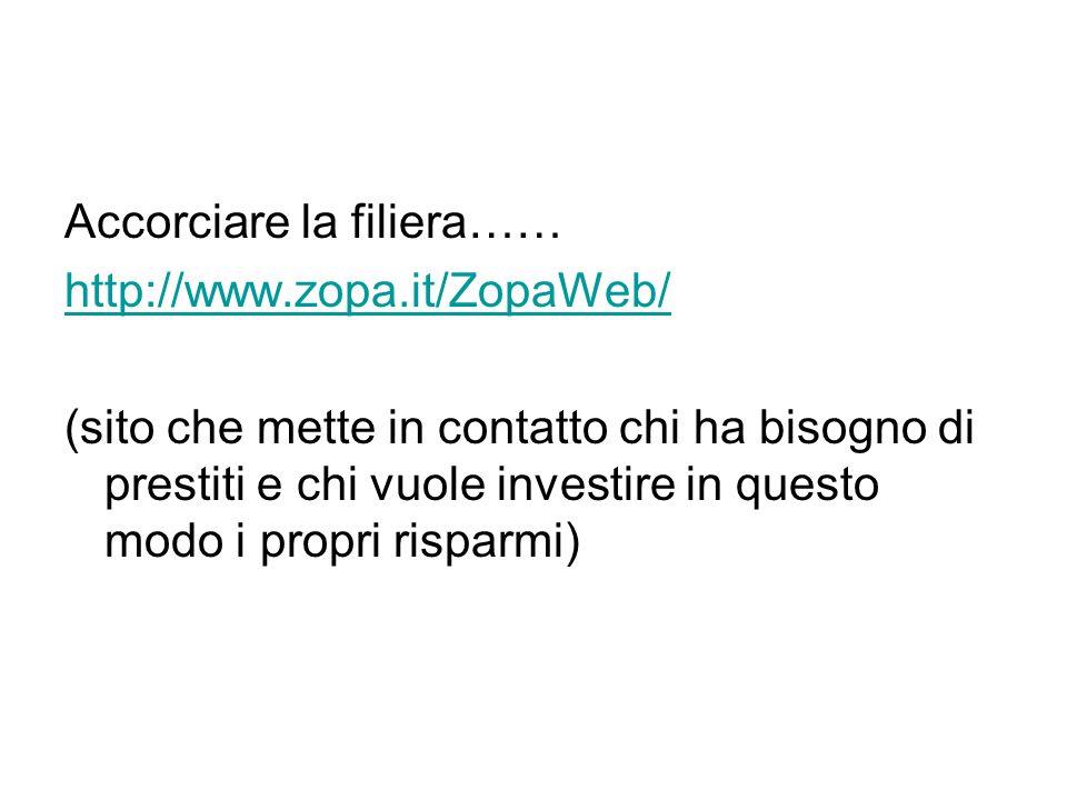 Accorciare la filiera…… http://www.zopa.it/ZopaWeb/ (sito che mette in contatto chi ha bisogno di prestiti e chi vuole investire in questo modo i prop
