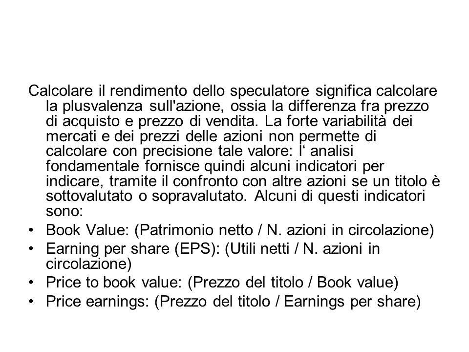 Calcolare il rendimento dello speculatore significa calcolare la plusvalenza sull'azione, ossia la differenza fra prezzo di acquisto e prezzo di vendi