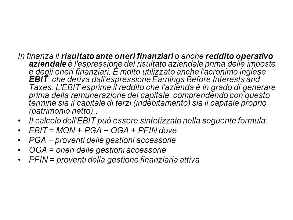 In finanza il risultato ante oneri finanziari o anche reddito operativo aziendale è l'espressione del risultato aziendale prima delle imposte e degli