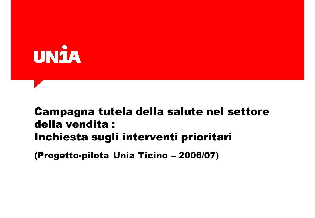 Campagna tutela della salute nel settore della vendita : Inchiesta sugli interventi prioritari (Progetto-pilota Unia Ticino – 2006/07)