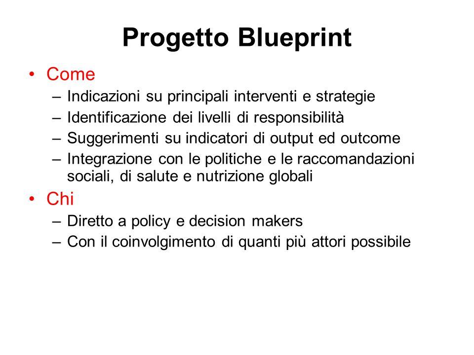 Progetto Blueprint Come –Indicazioni su principali interventi e strategie –Identificazione dei livelli di responsibilità –Suggerimenti su indicatori di output ed outcome –Integrazione con le politiche e le raccomandazioni sociali, di salute e nutrizione globali Chi –Diretto a policy e decision makers –Con il coinvolgimento di quanti più attori possibile