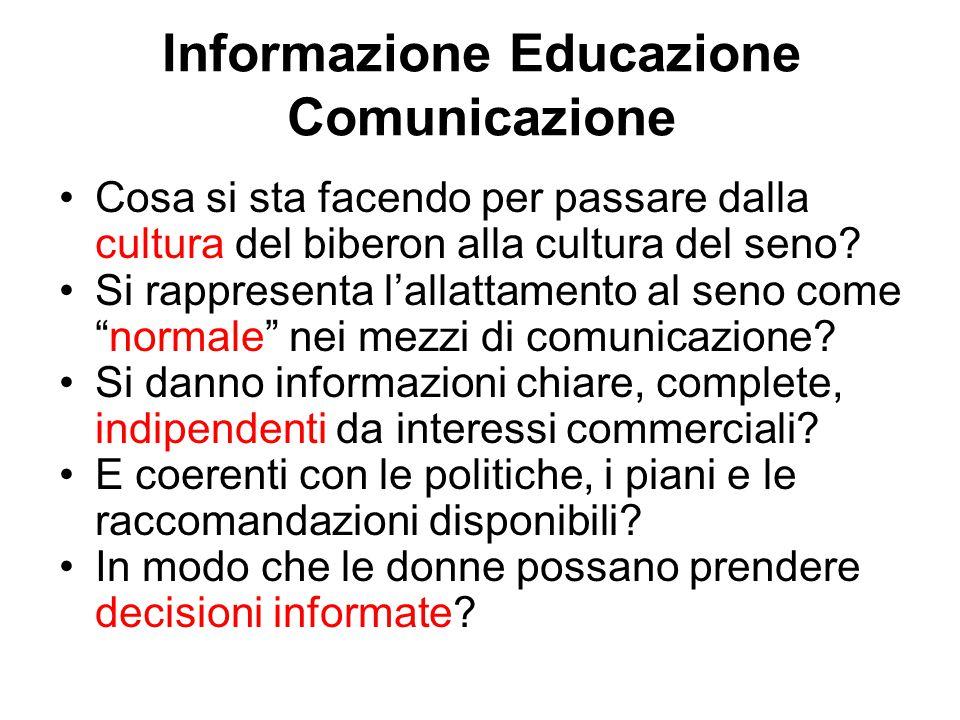 Informazione Educazione Comunicazione Cosa si sta facendo per passare dalla cultura del biberon alla cultura del seno.