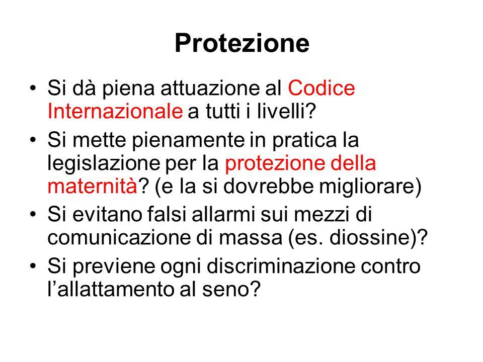Protezione Si dà piena attuazione al Codice Internazionale a tutti i livelli.