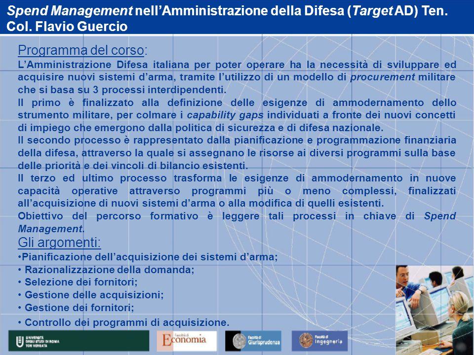 Spend Management nell'Amministrazione della Difesa (Target AD) Ten.