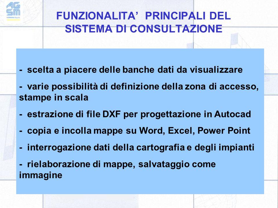 FUNZIONALITA' PRINCIPALI DEL SISTEMA DI CONSULTAZIONE - scelta a piacere delle banche dati da visualizzare - varie possibilità di definizione della zona di accesso, stampe in scala - estrazione di file DXF per progettazione in Autocad - copia e incolla mappe su Word, Excel, Power Point - interrogazione dati della cartografia e degli impianti - rielaborazione di mappe, salvataggio come immagine