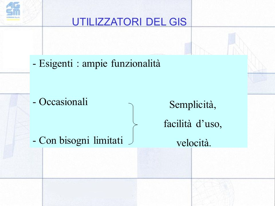 UTILIZZATORI DEL GIS - Esigenti : ampie funzionalità - Occasionali - Con bisogni limitati Semplicità, facilità d'uso, velocità.