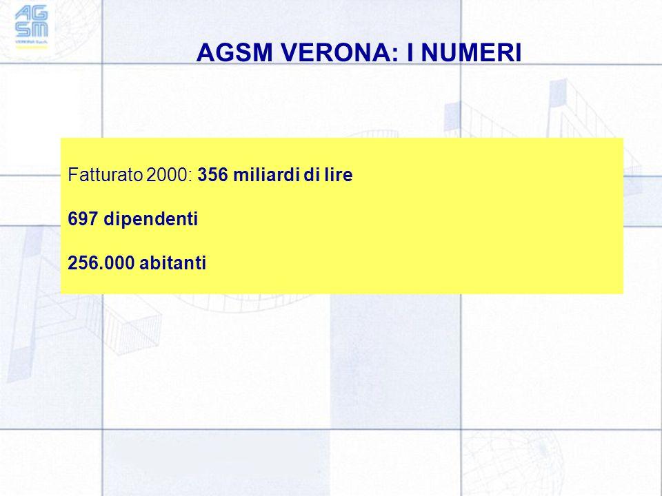 AGSM VERONA: I NUMERI Fatturato 2000: 356 miliardi di lire 697 dipendenti 256.000 abitanti