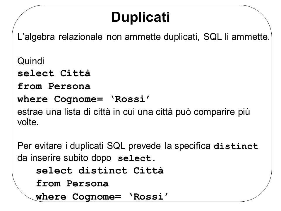 Duplicati L'algebra relazionale non ammette duplicati, SQL li ammette.