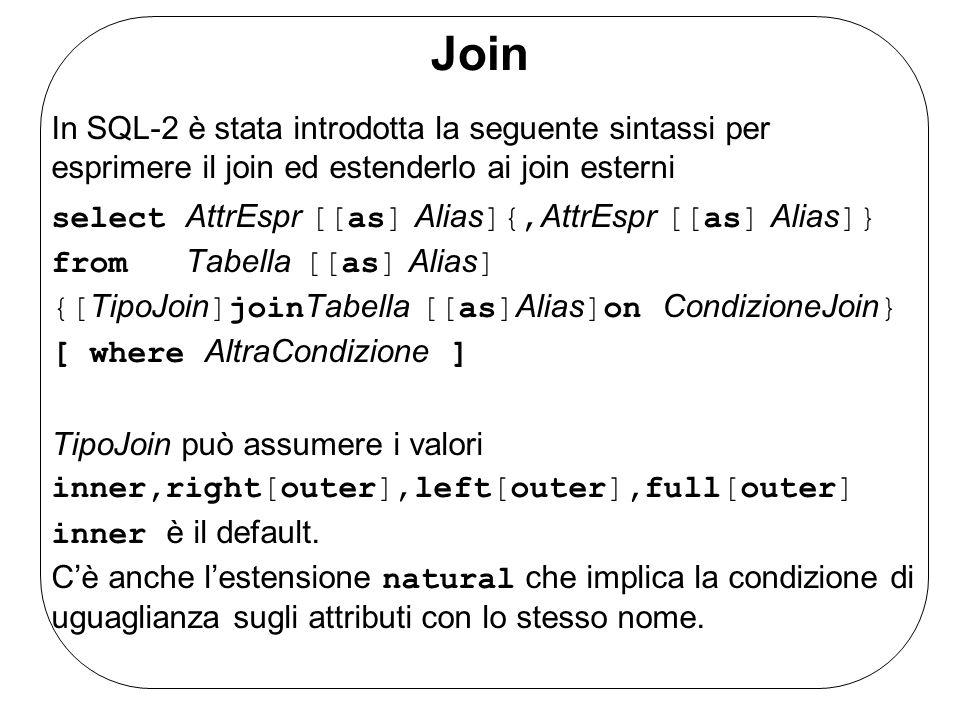 Join In SQL-2 è stata introdotta la seguente sintassi per esprimere il join ed estenderlo ai join esterni select AttrEspr [[as] Alias ]{, AttrEspr [[a