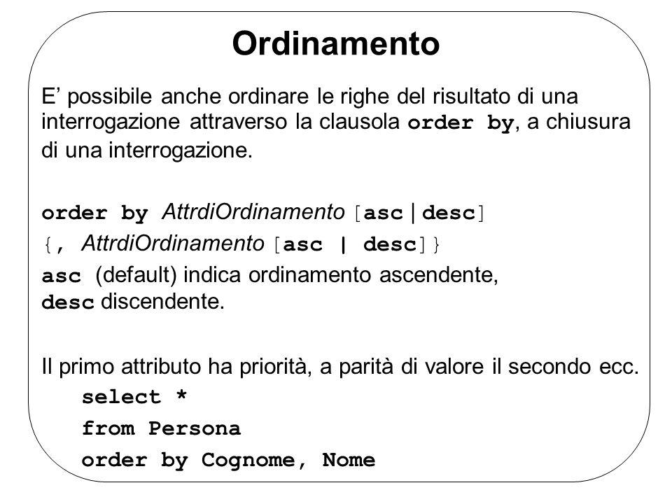 Ordinamento E' possibile anche ordinare le righe del risultato di una interrogazione attraverso la clausola order by, a chiusura di una interrogazione.