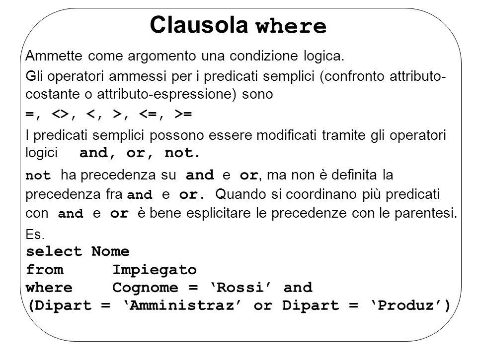 Clausola where Ammette come argomento una condizione logica.