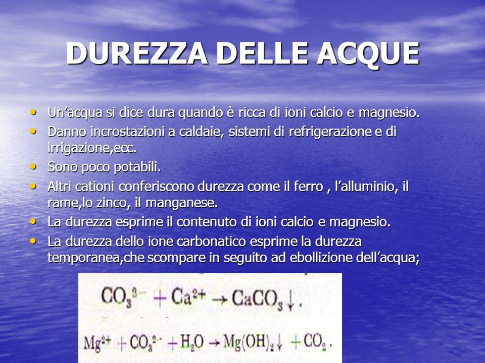 DUREZZA DELLE ACQUE Un'acqua si dice dura quando è ricca di ioni calcio e magnesio. Un'acqua si dice dura quando è ricca di ioni calcio e magnesio. Da