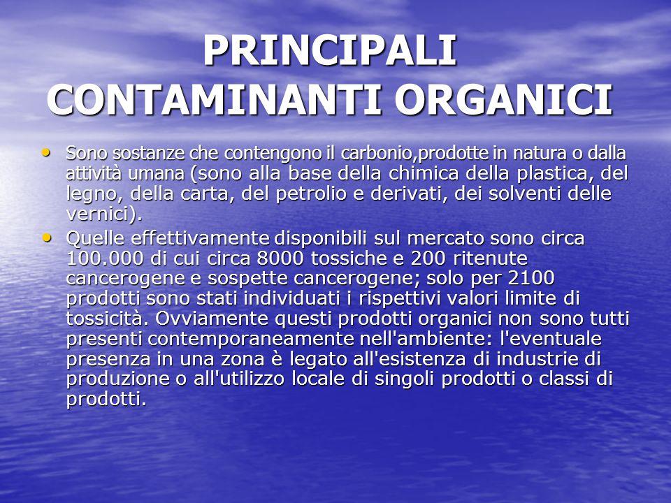 PRINCIPALI CONTAMINANTI ORGANICI Sono sostanze che contengono il carbonio,prodotte in natura o dalla attività umana (sono alla base della chimica dell