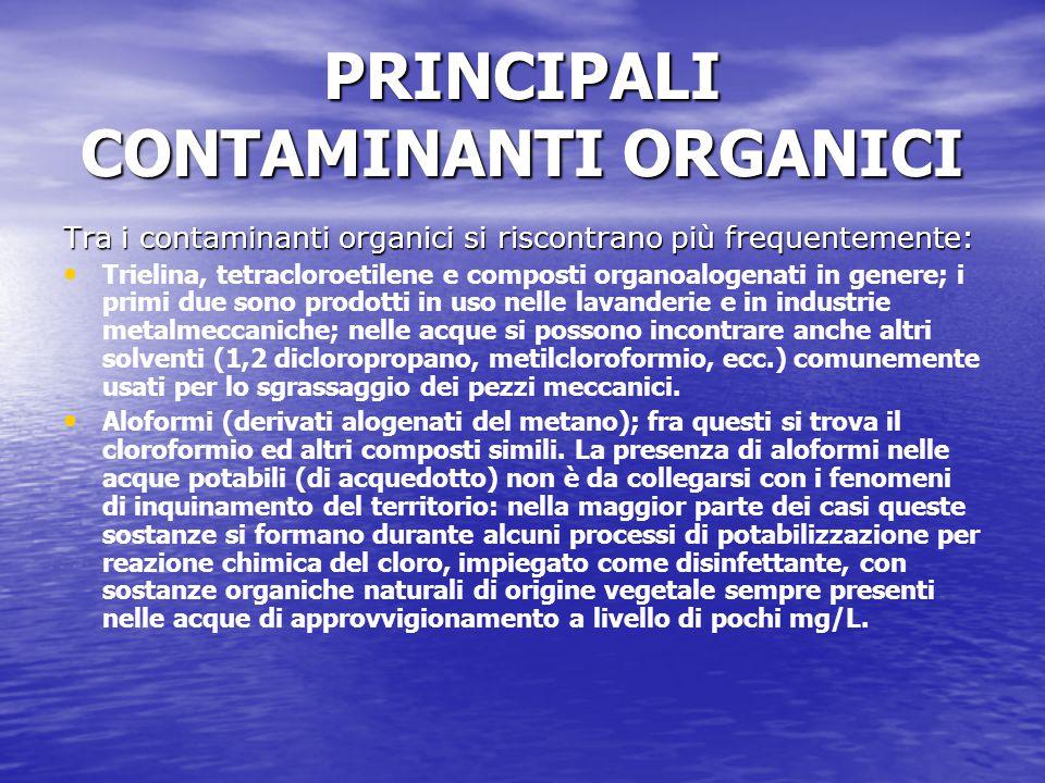 PRINCIPALI CONTAMINANTI ORGANICI Tra i contaminanti organici si riscontrano più frequentemente: Trielina, tetracloroetilene e composti organoalogenati