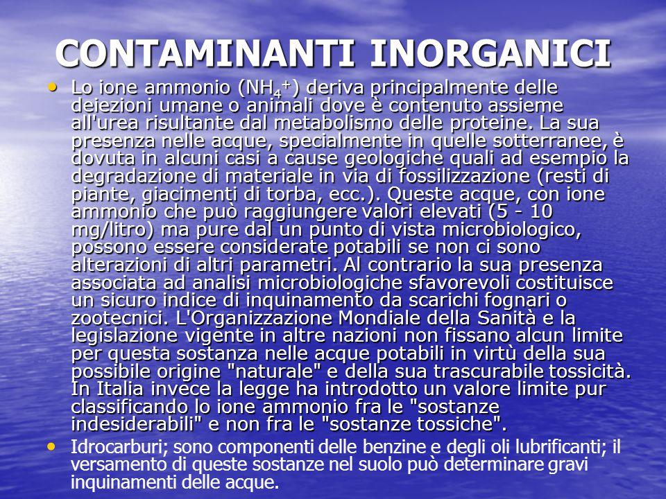 CONTAMINANTI INORGANICI CONTAMINANTI INORGANICI Lo ione ammonio (NH 4 + ) deriva principalmente delle deiezioni umane o animali dove è contenuto assie