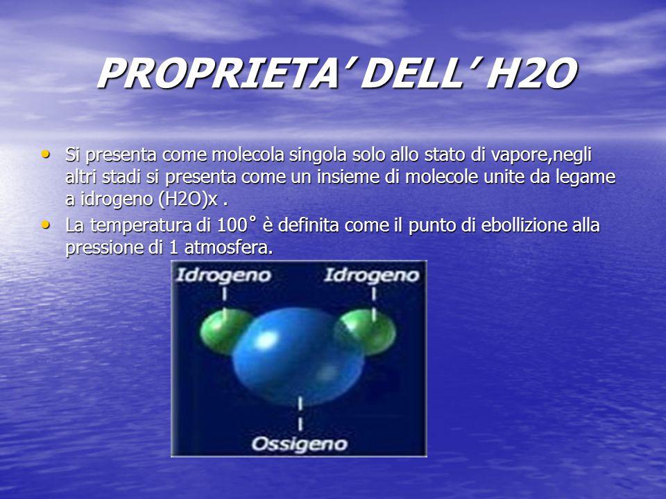 PROPRIETA' DELL' H2O Si presenta come molecola singola solo allo stato di vapore,negli altri stadi si presenta come un insieme di molecole unite da le