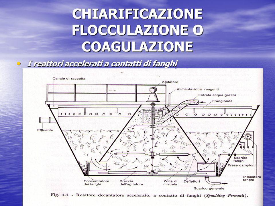 CHIARIFICAZIONE FLOCCULAZIONE O COAGULAZIONE I reattori accelerati a contatti di fanghi I reattori accelerati a contatti di fanghi