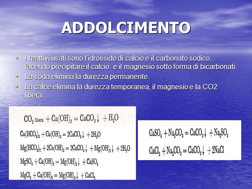 ADDOLCIMENTO I reattivi usati sono l'idrossido di calcio e il carbonato sodico, facendo precipitare il calcio e il magnesio sotto forma di bicarbonati