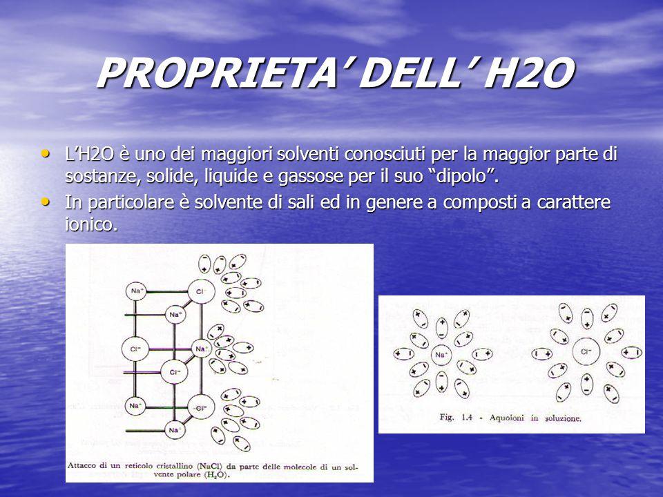 """PROPRIETA' DELL' H2O L'H2O è uno dei maggiori solventi conosciuti per la maggior parte di sostanze, solide, liquide e gassose per il suo """"dipolo"""". L'H"""