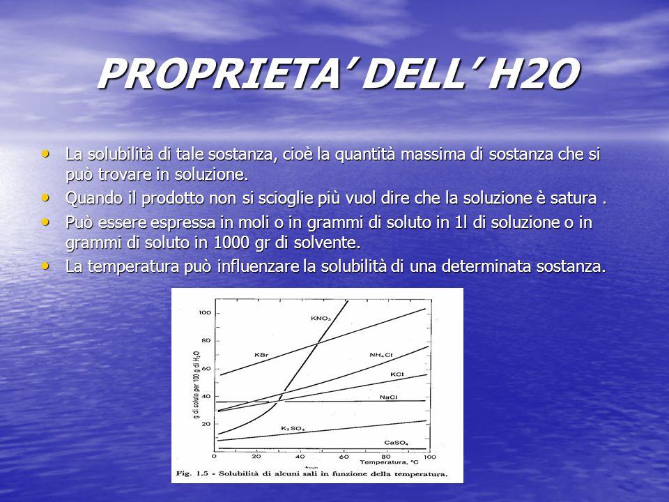 PROPRIETA' DELL' H2O La solubilità di tale sostanza, cioè la quantità massima di sostanza che si può trovare in soluzione. La solubilità di tale sosta
