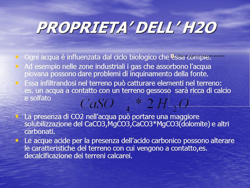 PROPRIETA' DELL' H2O Ogni acqua è influenzata dal ciclo biologico che essa compie. Ad esempio nelle zone industriali i gas che assorbono l'acqua piova