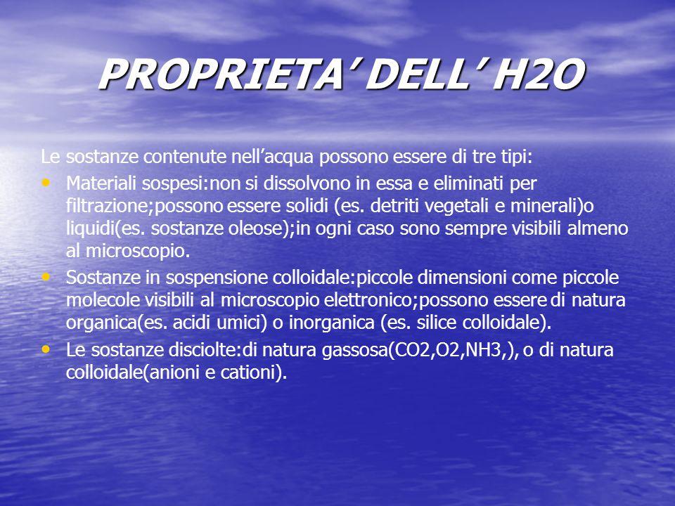PROPRIETA' DELL' H2O Le sostanze contenute nell'acqua possono essere di tre tipi: Materiali sospesi:non si dissolvono in essa e eliminati per filtrazi