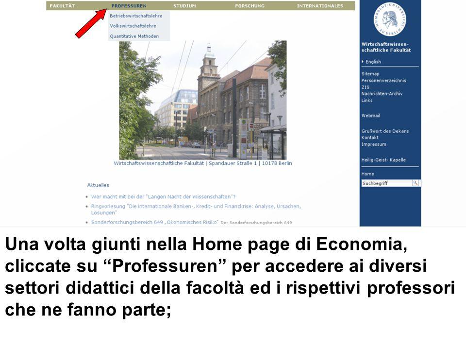 Una volta giunti nella Home page di Economia, cliccate su Professuren per accedere ai diversi settori didattici della facoltà ed i rispettivi professori che ne fanno parte;