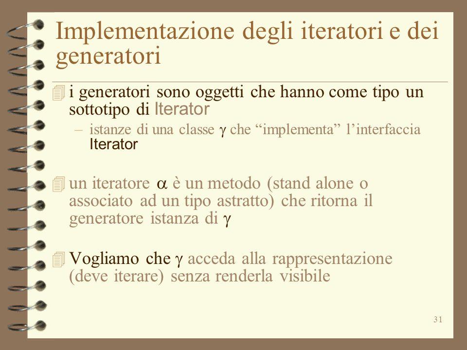 31 Implementazione degli iteratori e dei generatori  i generatori sono oggetti che hanno come tipo un sottotipo di Iterator –istanze di una classe 