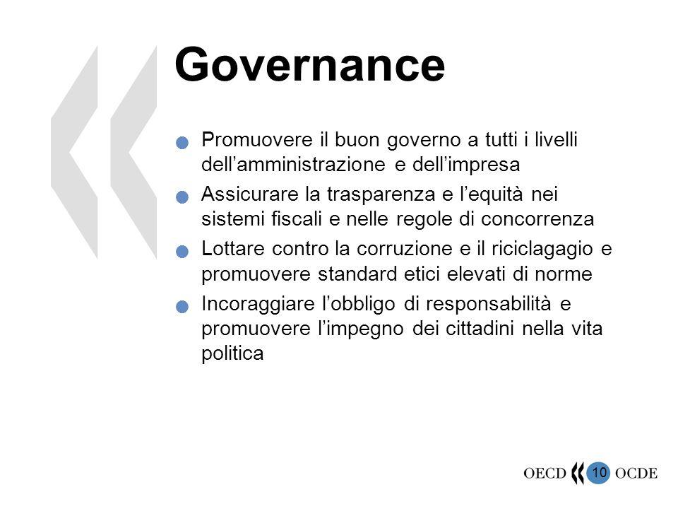 10 Governance Promuovere il buon governo a tutti i livelli dell'amministrazione e dell'impresa Assicurare la trasparenza e l'equità nei sistemi fiscal