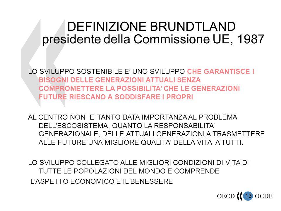 13 DEFINIZIONE BRUNDTLAND presidente della Commissione UE, 1987 LO SVILUPPO SOSTENIBILE E' UNO SVILUPPO CHE GARANTISCE I BISOGNI DELLE GENERAZIONI ATT