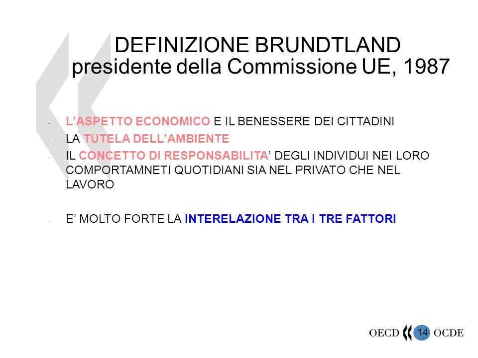 14 DEFINIZIONE BRUNDTLAND presidente della Commissione UE, 1987 - L'ASPETTO ECONOMICO E IL BENESSERE DEI CITTADINI - LA TUTELA DELL'AMBIENTE - IL CONC