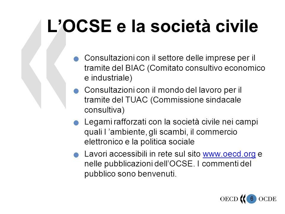 6 L'OCSE e la società civile Consultazioni con il settore delle imprese per il tramite del BIAC (Comitato consultivo economico e industriale) Consulta