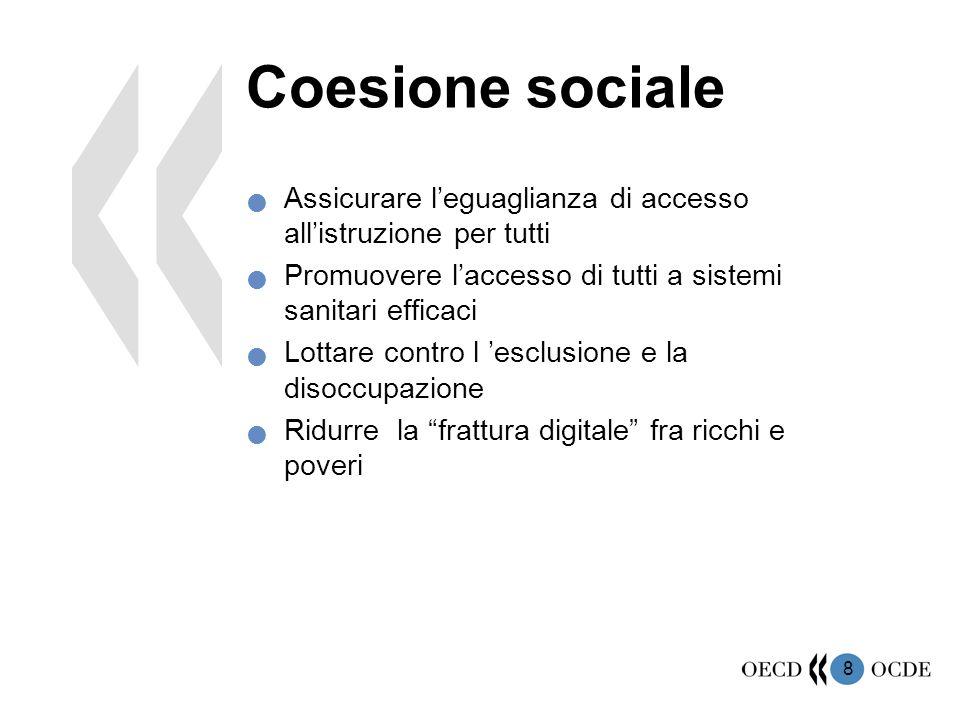 8 Coesione sociale Assicurare l'eguaglianza di accesso all'istruzione per tutti Promuovere l'accesso di tutti a sistemi sanitari efficaci Lottare cont
