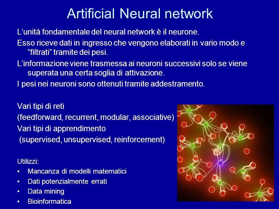 """Artificial Neural network L'unità fondamentale del neural network è il neurone. Esso riceve dati in ingresso che vengono elaborati in vario modo e """"fi"""