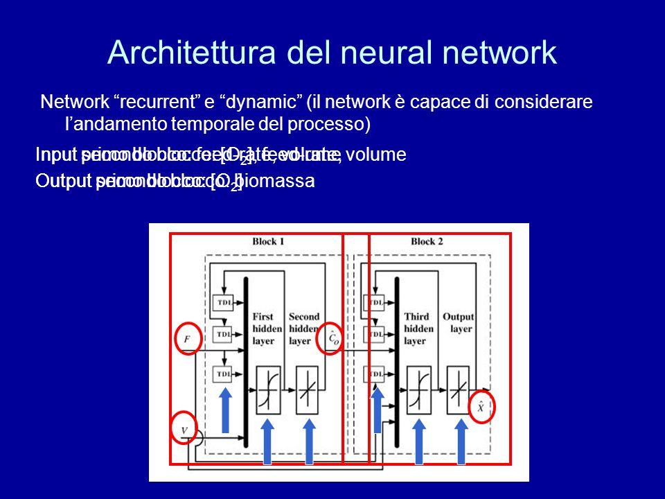 """Architettura del neural network Network """"recurrent"""" e """"dynamic"""" (il network è capace di considerare l'andamento temporale del processo) Input primo bl"""
