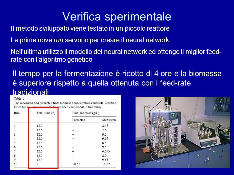 Verifica sperimentale Il metodo sviluppato viene testato in un piccolo reattore Le prime nove run servono per creare il neural network Nell'ultima uti