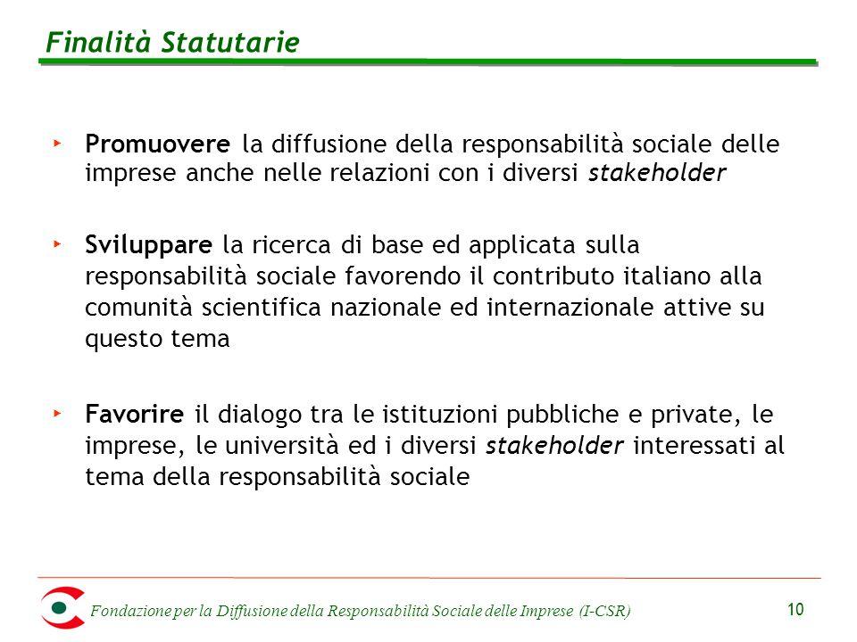 Fondazione per la Diffusione della Responsabilità Sociale delle Imprese (I-CSR) 10 ‣ Promuovere la diffusione della responsabilità sociale delle impre