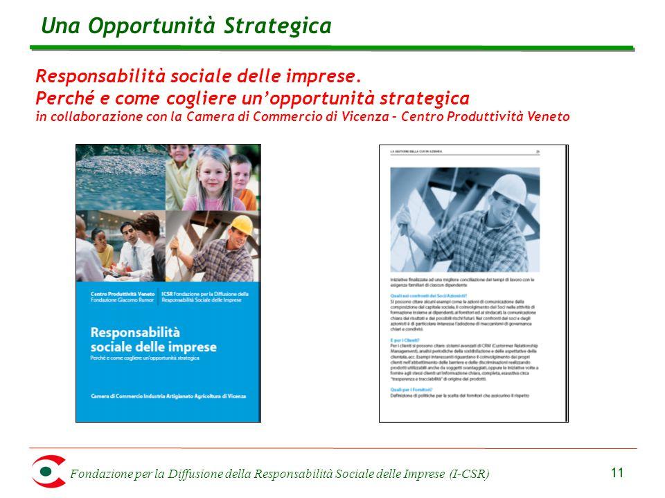 Fondazione per la Diffusione della Responsabilità Sociale delle Imprese (I-CSR) 11 Responsabilità sociale delle imprese. Perché e come cogliere un'opp