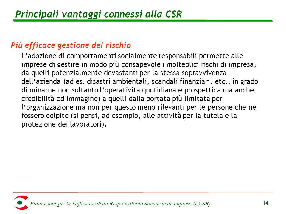 Fondazione per la Diffusione della Responsabilità Sociale delle Imprese (I-CSR) 14 Più efficace gestione del rischio L'adozione di comportamenti socia