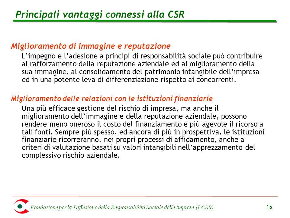 Fondazione per la Diffusione della Responsabilità Sociale delle Imprese (I-CSR) 15 Miglioramento di immagine e reputazione L'impegno e l'adesione a pr