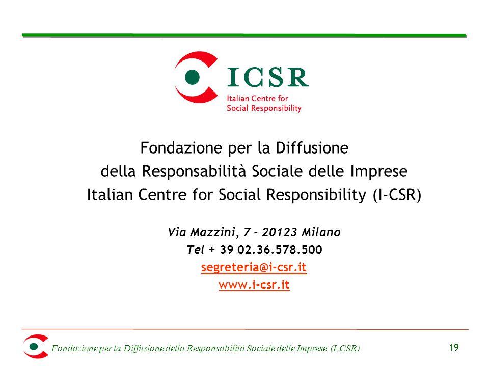 Fondazione per la Diffusione della Responsabilità Sociale delle Imprese (I-CSR) 19 Fondazione per la Diffusione della Responsabilità Sociale delle Imp