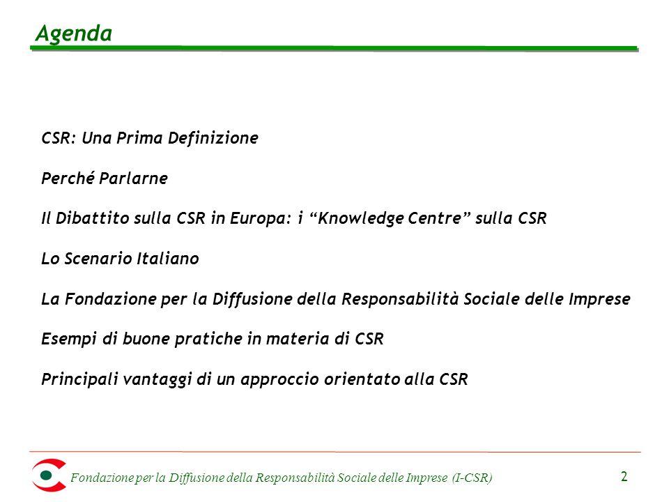 Fondazione per la Diffusione della Responsabilità Sociale delle Imprese (I-CSR) 2 Agenda CSR: Una Prima Definizione Perché Parlarne Il Dibattito sulla