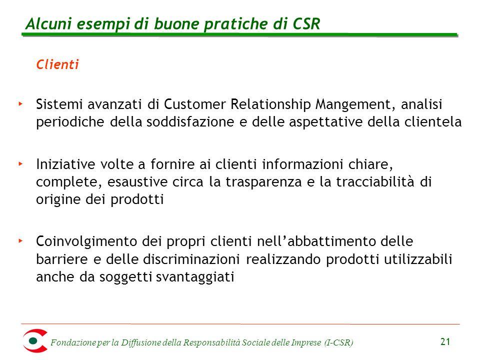 Fondazione per la Diffusione della Responsabilità Sociale delle Imprese (I-CSR) 21 Clienti ‣ Sistemi avanzati di Customer Relationship Mangement, anal